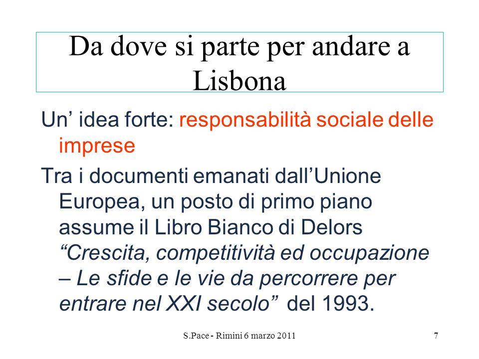 S.Pace - Rimini 6 marzo 20117 Da dove si parte per andare a Lisbona Un idea forte: responsabilità sociale delle imprese Tra i documenti emanati dallUn