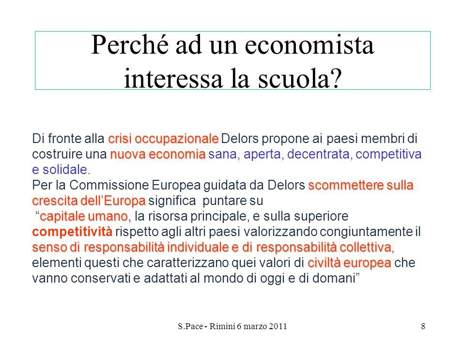 S.Pace - Rimini 6 marzo 20118 Perché ad un economista interessa la scuola? crisi occupazionale nuova economia scommettere sulla crescita dellEuropa Di