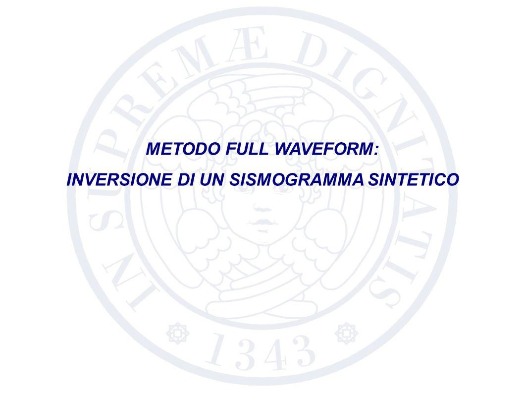Profondità sorgente: 5 m Numero di ricevitori: 12 Profondità ricevitori: 10 m Primo offset: 60 m Campionamento spaziale: 30 m Tempo di registrazione: 4 s Periodo di campionamento: 4 ms PARAMETRI AMBIENTALIPARAMETRI DI ACQUISIZIONE V P ρ h 0 V S-H2O Informazioni a priori: V S-1,2,3 h 1,2 Gradi di libertà: MODELLO DA INVERTIRE