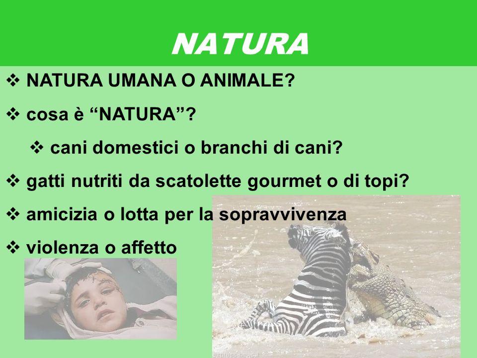 17 gennaio 2013 NATURA NATURA UMANA O ANIMALE. cosa è NATURA.