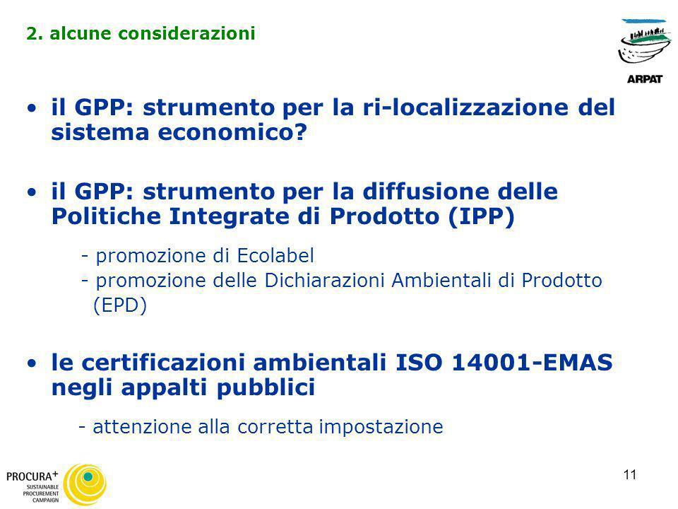 11 il GPP: strumento per la ri-localizzazione del sistema economico? il GPP: strumento per la diffusione delle Politiche Integrate di Prodotto (IPP) -