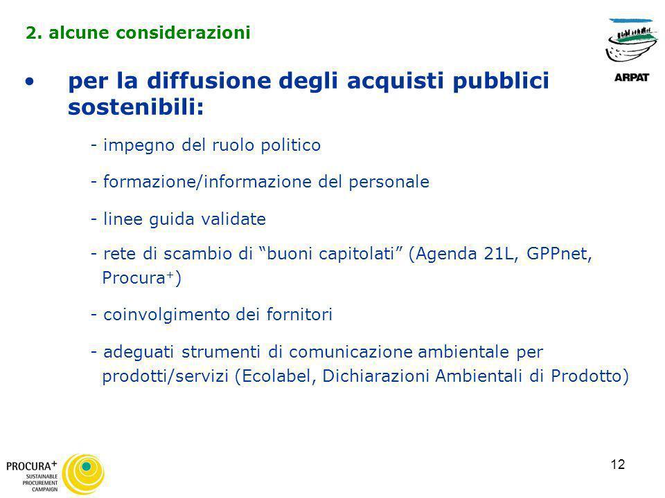 12 per la diffusione degli acquisti pubblici sostenibili: - impegno del ruolo politico - formazione/informazione del personale - linee guida validate