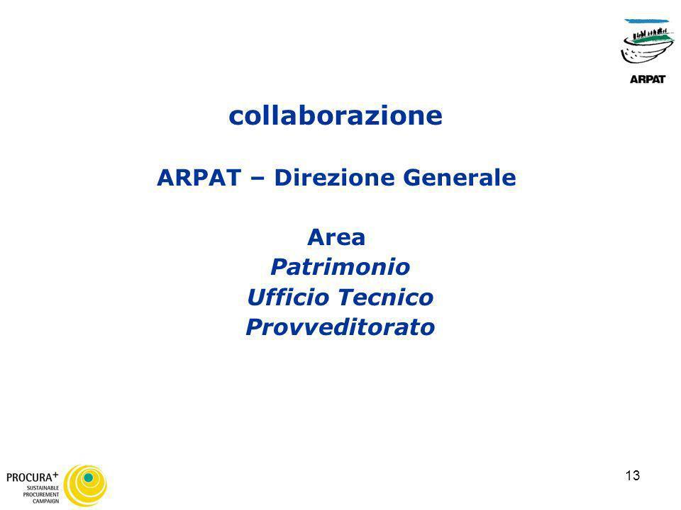 13 collaborazione ARPAT – Direzione Generale Area Patrimonio Ufficio Tecnico Provveditorato