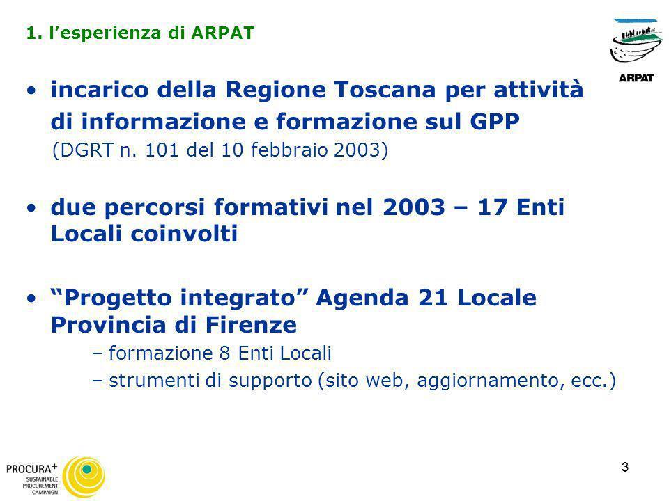 3 incarico della Regione Toscana per attività di informazione e formazione sul GPP (DGRT n. 101 del 10 febbraio 2003) due percorsi formativi nel 2003