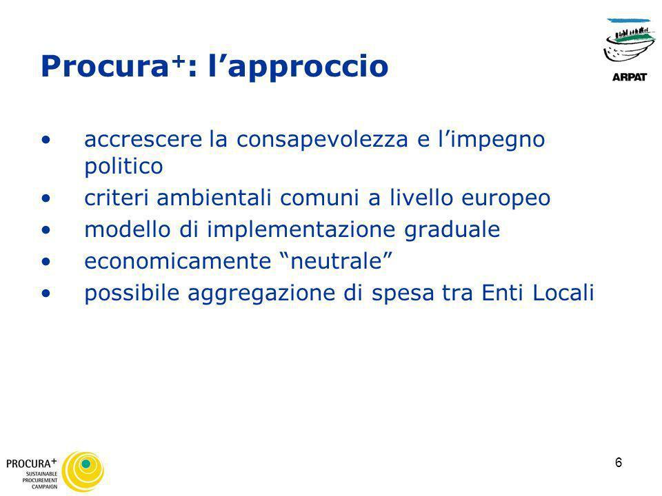 6 Procura + : lapproccio accrescere la consapevolezza e limpegno politico criteri ambientali comuni a livello europeo modello di implementazione gradu