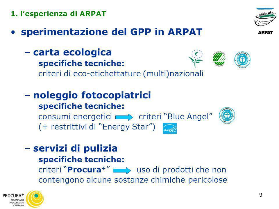 9 sperimentazione del GPP in ARPAT –carta ecologica specifiche tecniche: criteri di eco-etichettature (multi)nazionali –noleggio fotocopiatrici specif