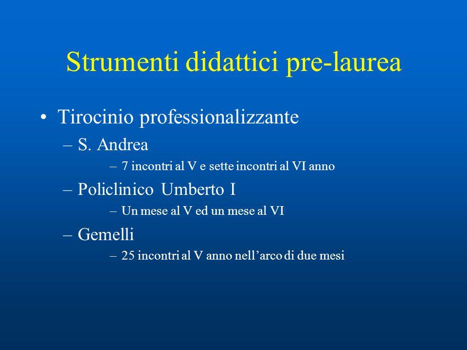 Strumenti didattici pre-laurea Lezioni, seminari –S.