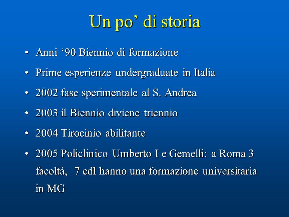 Un po di storia Anni 90 Biennio di formazioneAnni 90 Biennio di formazione Prime esperienze undergraduate in ItaliaPrime esperienze undergraduate in Italia 2002 fase sperimentale al S.