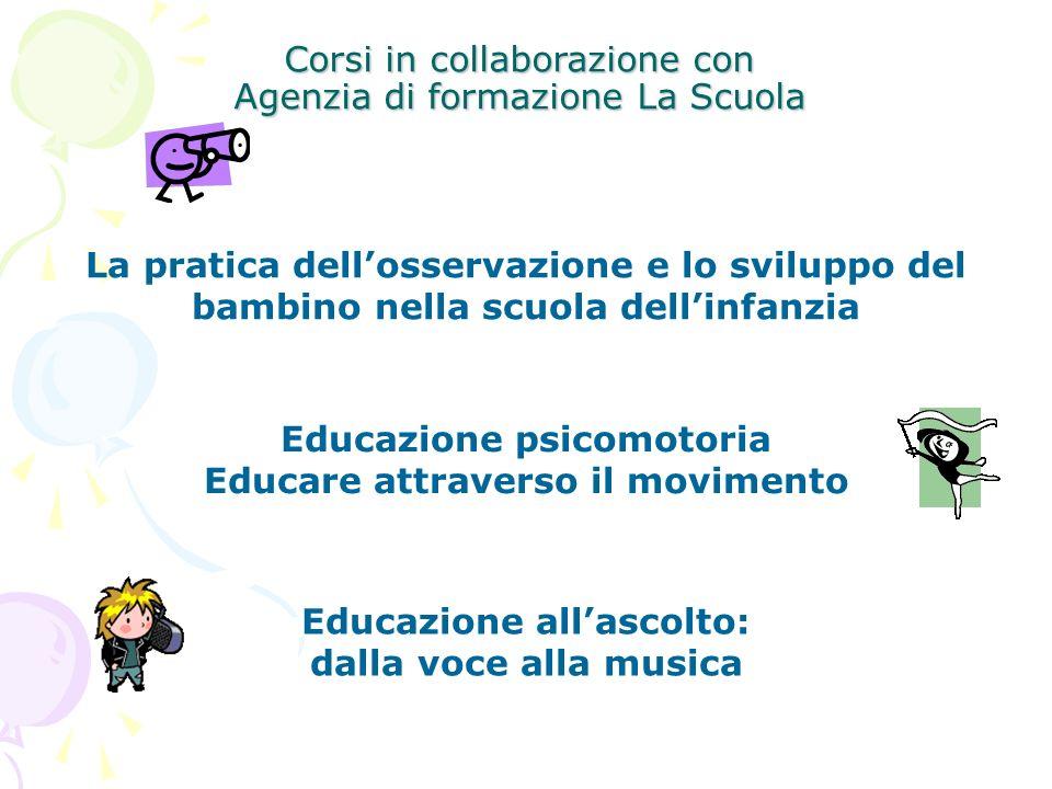 Corsi in collaborazione con Agenzia di formazione La Scuola La pratica dellosservazione e lo sviluppo del bambino nella scuola dellinfanzia Educazione