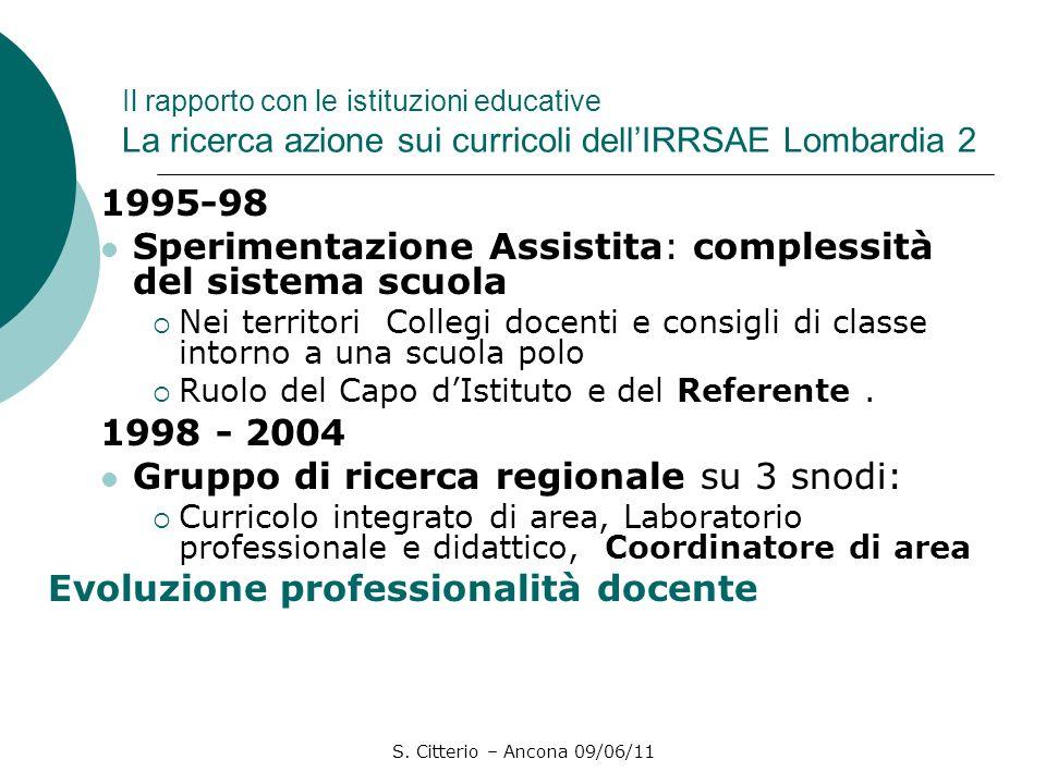 S. Citterio – Ancona 09/06/11 Il rapporto con le istituzioni educative La ricerca azione sui curricoli dellIRRSAE Lombardia 2 1995-98 Sperimentazione