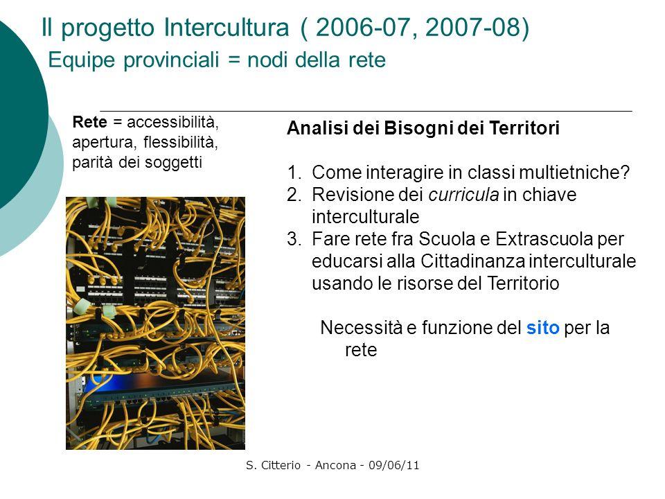 S. Citterio - Ancona - 09/06/11 Il progetto Intercultura ( 2006-07, 2007-08) Equipe provinciali = nodi della rete Analisi dei Bisogni dei Territori 1.