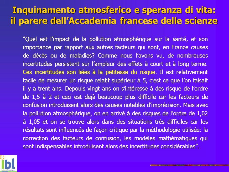 Inquinamento atmosferico e speranza di vita: il parere dellAccademia francese delle scienze Quel est limpact de la pollution atmosphérique sur la sant
