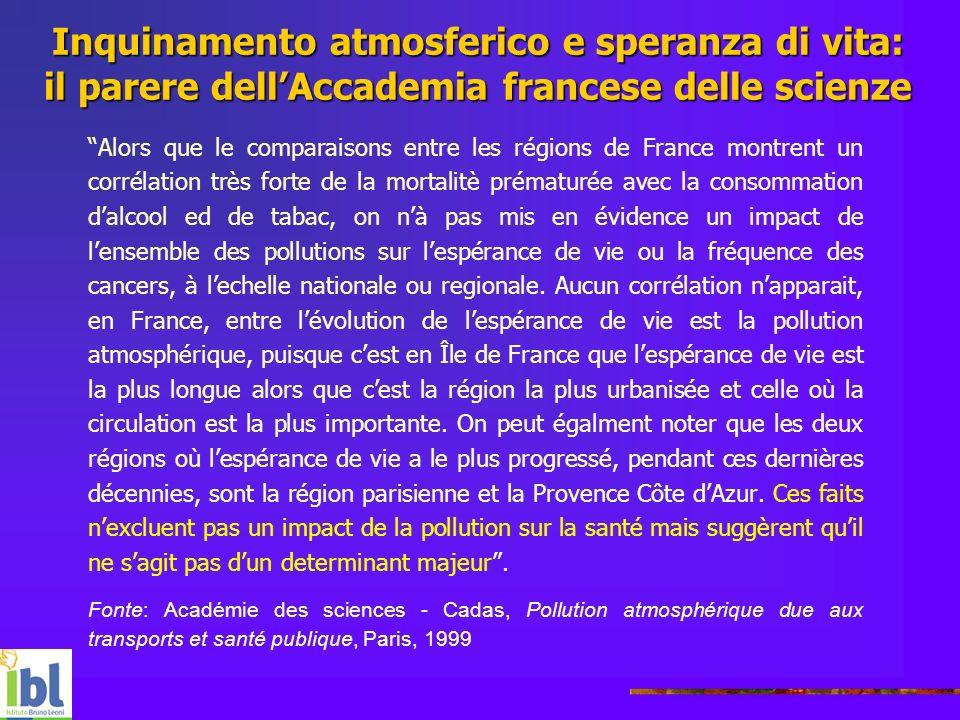 Inquinamento atmosferico e speranza di vita: il parere dellAccademia francese delle scienze Alors que le comparaisons entre les régions de France mont
