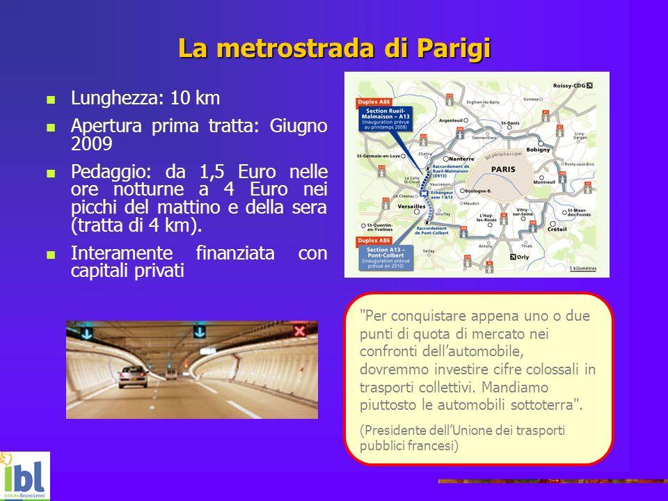 La metrostrada di Parigi Lunghezza: 10 km Apertura prima tratta: Giugno 2009 Pedaggio: da 1,5 Euro nelle ore notturne a 4 Euro nei picchi del mattino