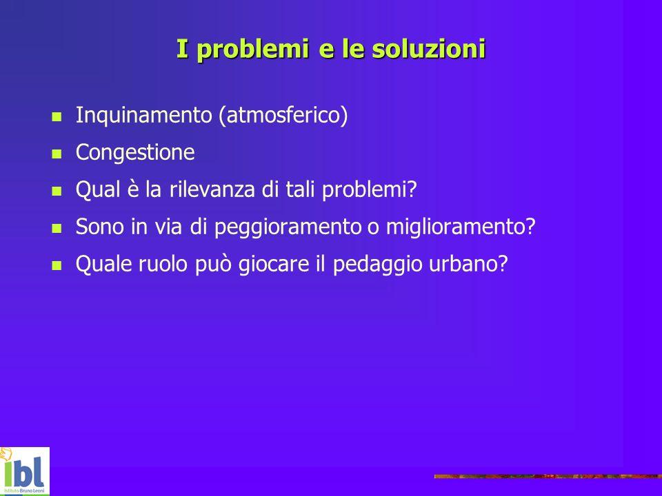 I problemi e le soluzioni Inquinamento (atmosferico) Congestione Qual è la rilevanza di tali problemi? Sono in via di peggioramento o miglioramento? Q