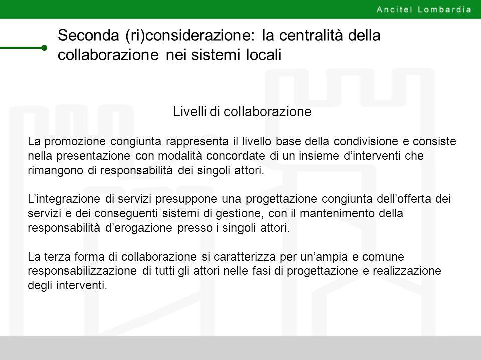 Livelli di collaborazione La promozione congiunta rappresenta il livello base della condivisione e consiste nella presentazione con modalità concordat