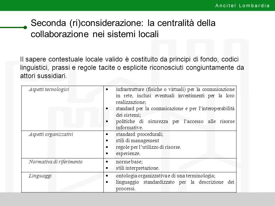 Seconda (ri)considerazione: la centralità della collaborazione nei sistemi locali Aspetti tecnologici infrastrutture (fisiche o virtuali) per la comun