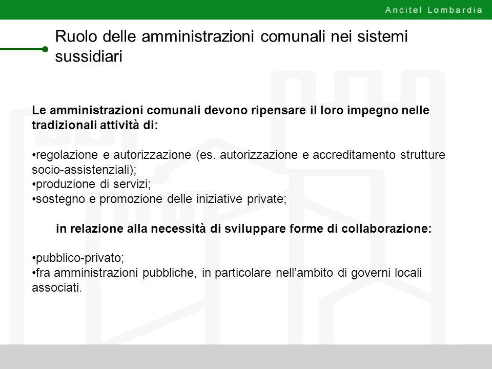 Ruolo delle amministrazioni comunali nei sistemi sussidiari Le amministrazioni comunali devono ripensare il loro impegno nelle tradizionali attività d