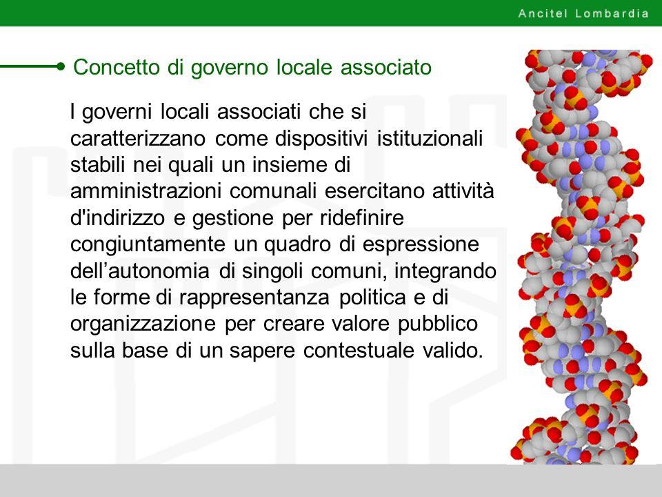 Concetto di governo locale associato I governi locali associati che si caratterizzano come dispositivi istituzionali stabili nei quali un insieme di a