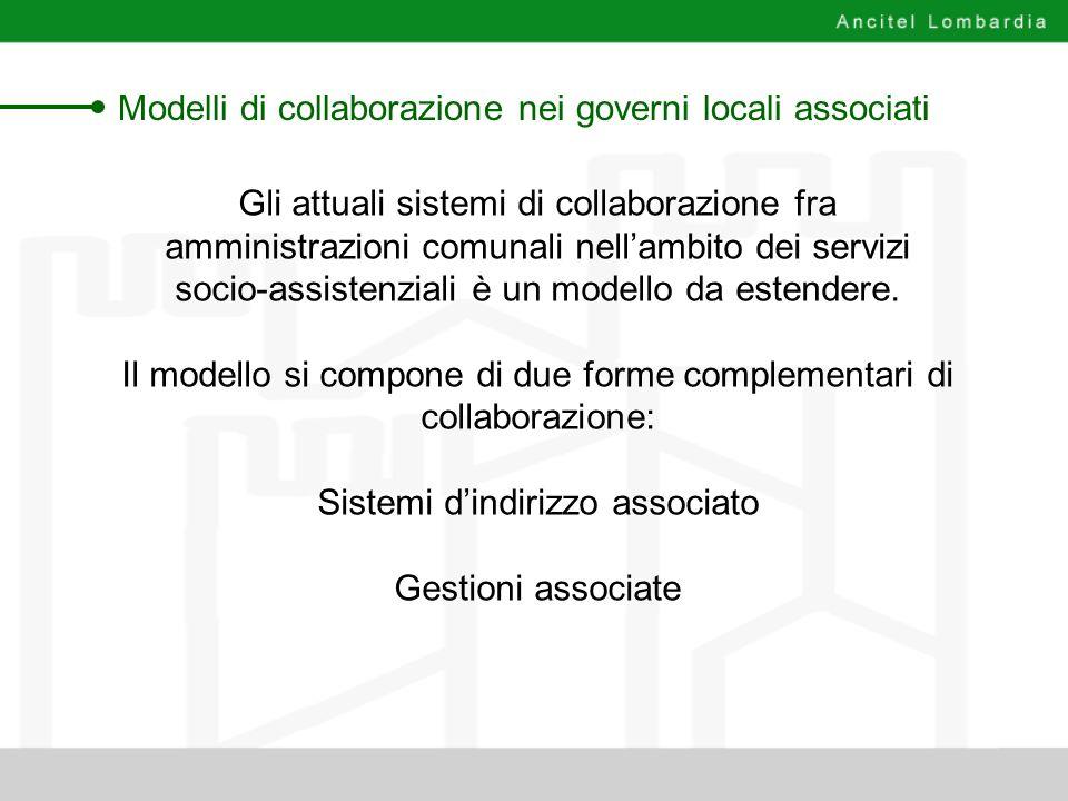 Modelli di collaborazione nei governi locali associati Gli attuali sistemi di collaborazione fra amministrazioni comunali nellambito dei servizi socio