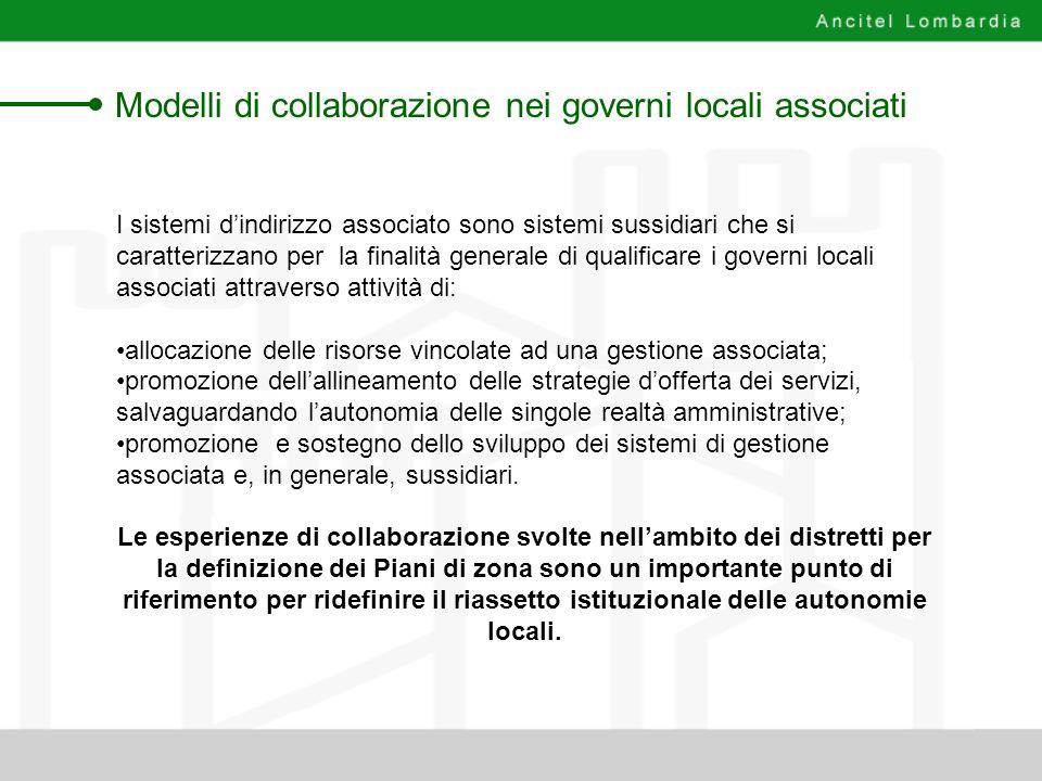 Modelli di collaborazione nei governi locali associati I sistemi dindirizzo associato sono sistemi sussidiari che si caratterizzano per la finalità ge