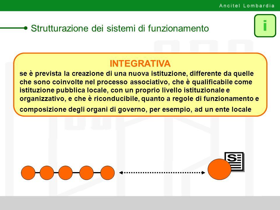 INTEGRATIVA se è prevista la creazione di una nuova istituzione, differente da quelle che sono coinvolte nel processo associativo, che è qualificabile