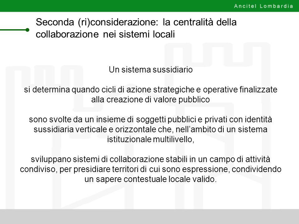 Seconda (ri)considerazione: la centralità della collaborazione nei sistemi locali Un sistema sussidiario si determina quando cicli di azione strategic