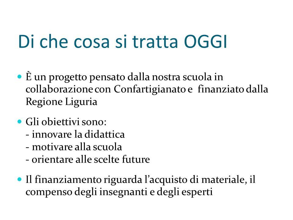 Di che cosa si tratta OGGI È un progetto pensato dalla nostra scuola in collaborazione con Confartigianato e finanziato dalla Regione Liguria Gli obie