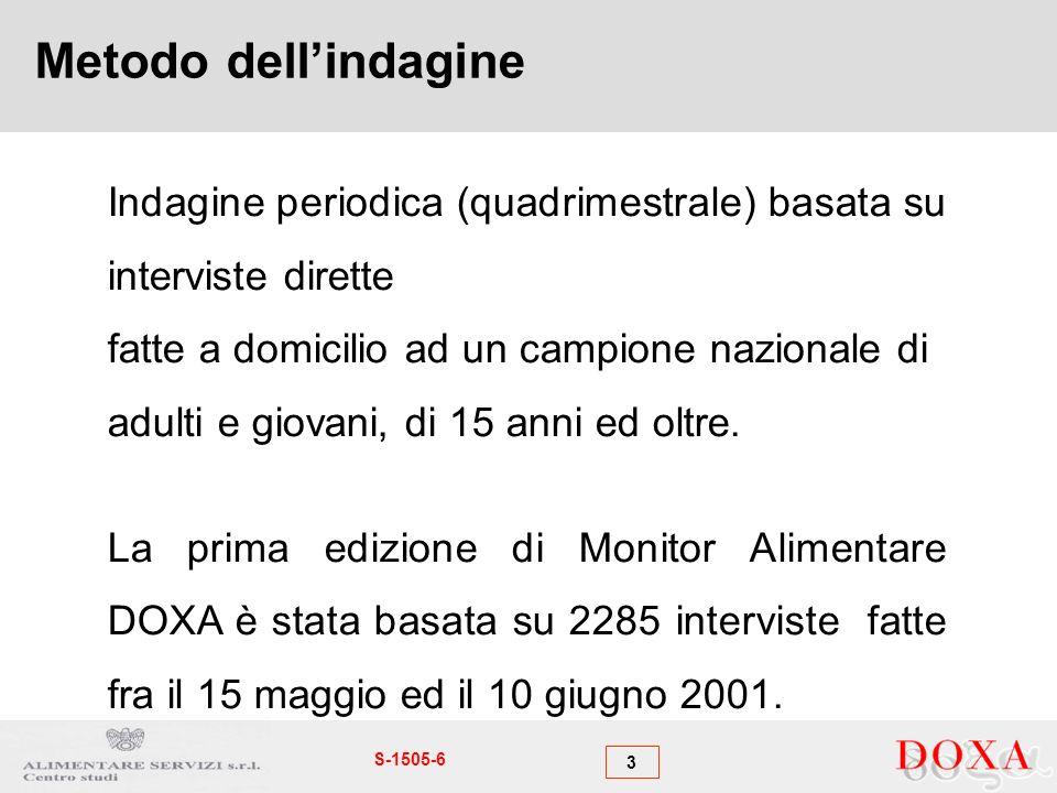 3 S-1505-6 Metodo dellindagine Indagine periodica (quadrimestrale) basata su interviste dirette fatte a domicilio ad un campione nazionale di adulti e