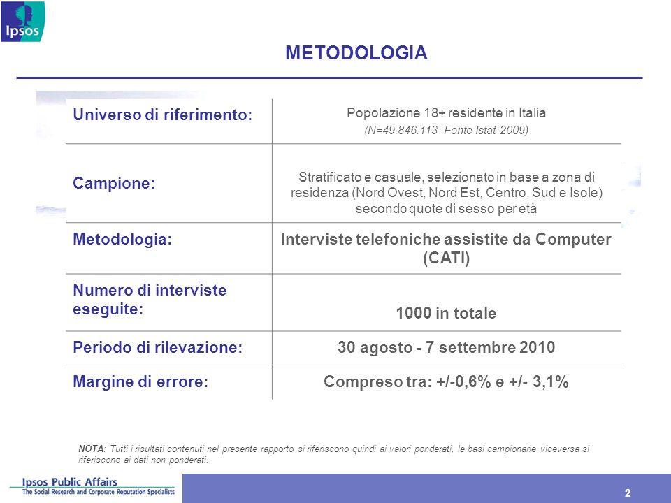 2 2 METODOLOGIA Universo di riferimento: Popolazione 18+ residente in Italia (N=49.846.113 Fonte Istat 2009) Campione: Stratificato e casuale, selezio
