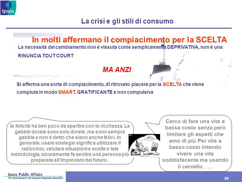 24 La crisi e gli stili di consumo In molti affermano il compiacimento per la SCELTA La necessità del cambiamento non è vissuta come semplicemente DEP