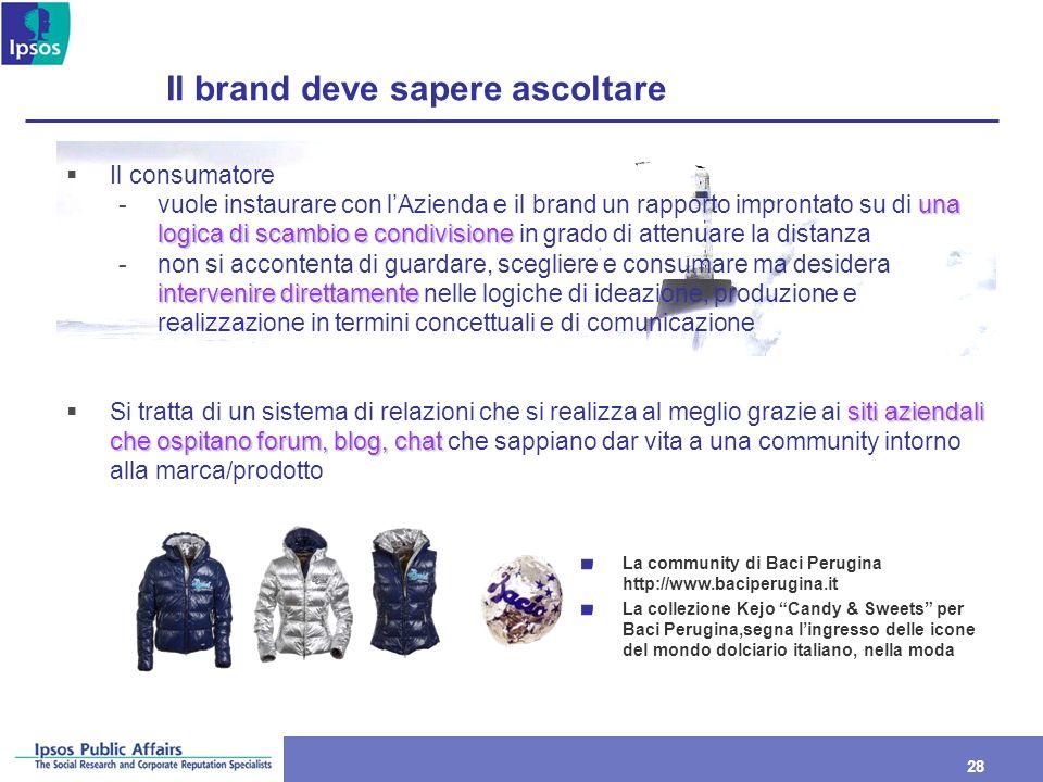 28 Il brand deve sapere ascoltare Il consumatore una logica di scambio e condivisione -vuole instaurare con lAzienda e il brand un rapporto improntato