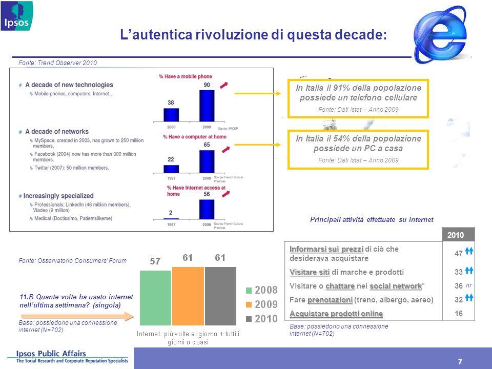7 7 Lautentica rivoluzione di questa decade: Fonte: Trend Observer 2010 Fonte: Osservatorio Consumers Forum In Italia il 91% della popolazione possied