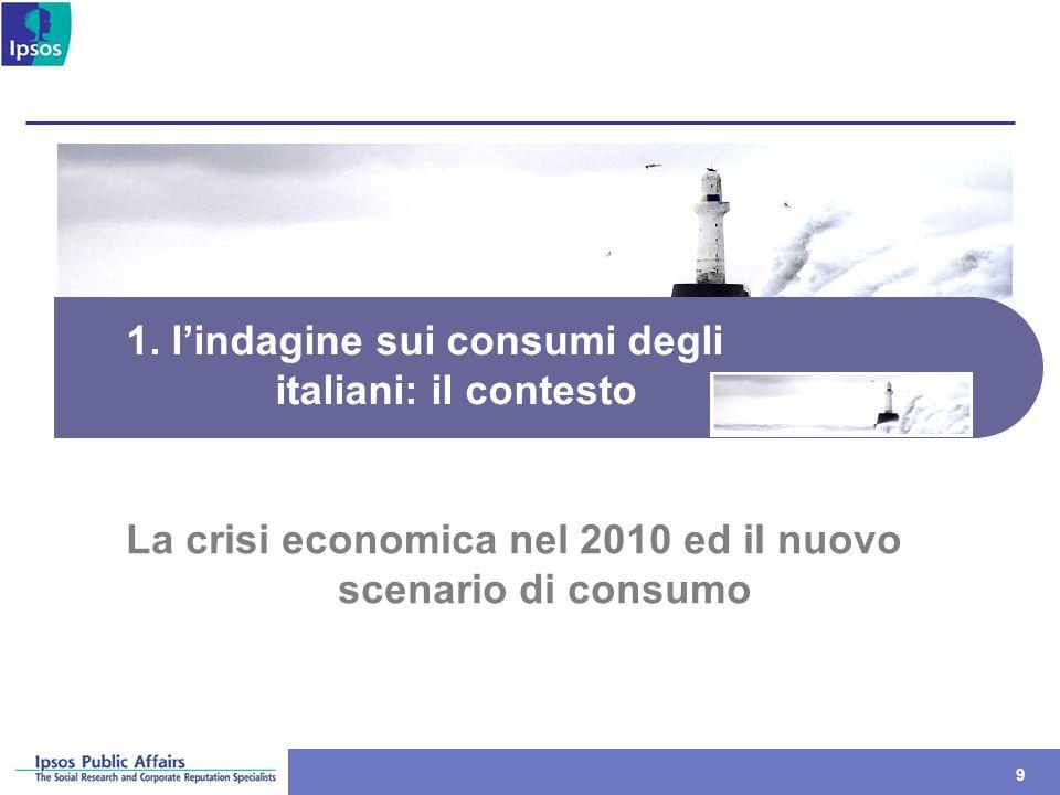 99 1. lindagine sui consumi degli italiani: il contesto La crisi economica nel 2010 ed il nuovo scenario di consumo