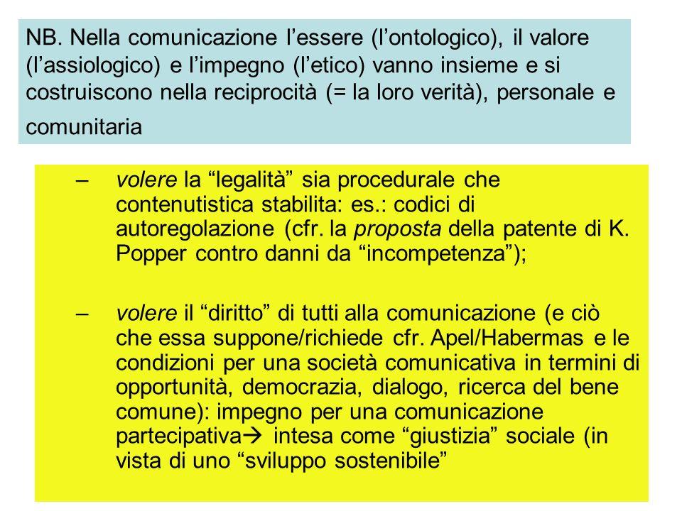 –volere la legalità sia procedurale che contenutistica stabilita: es.: codici di autoregolazione (cfr. la proposta della patente di K. Popper contro d