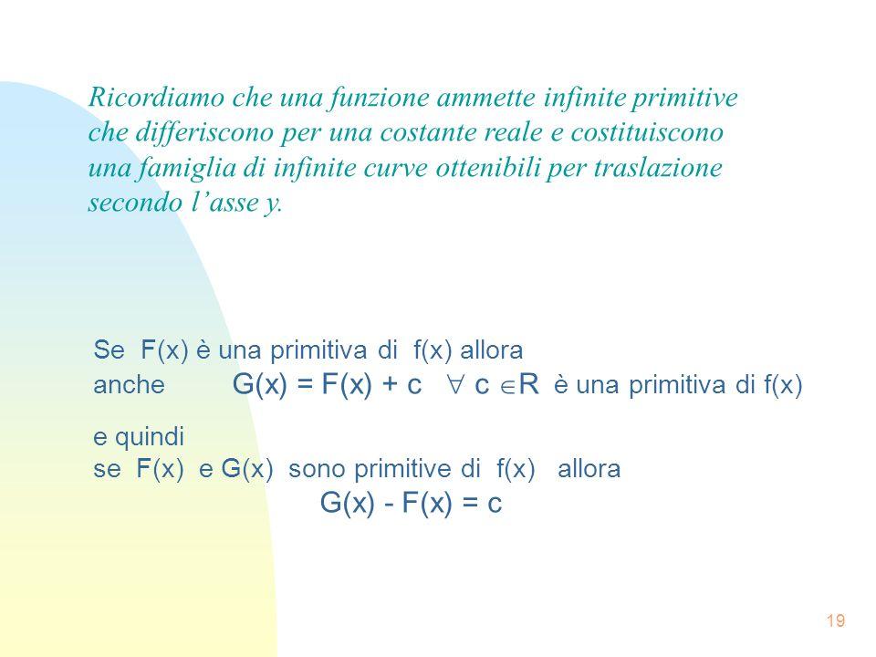 19 Se F(x) è una primitiva di f(x) allora anche G(x) = F(x) + c c R è una primitiva di f(x) e quindi se F(x) e G(x) sono primitive di f(x) allora G(x)