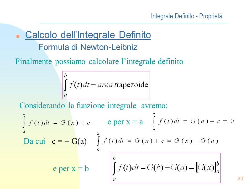 20 Integrale Definito - Proprietà n Calcolo dellIntegrale Definito Formula di Newton-Leibniz Finalmente possiamo calcolare lintegrale definito Conside