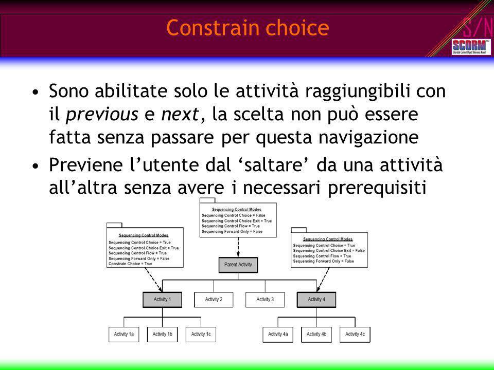 S/N Sono abilitate solo le attività raggiungibili con il previous e next, la scelta non può essere fatta senza passare per questa navigazione Previene
