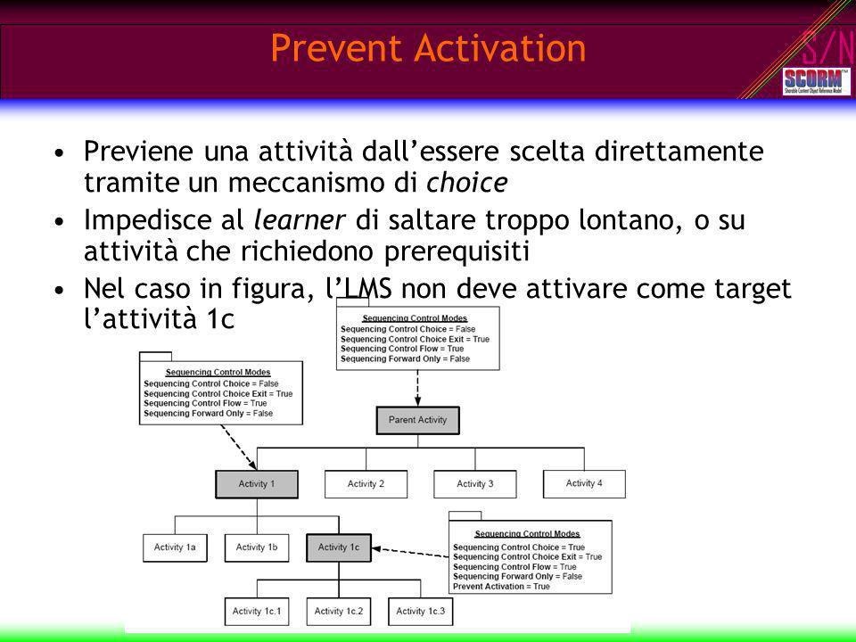 S/N Prevent Activation Previene una attività dallessere scelta direttamente tramite un meccanismo di choice Impedisce al learner di saltare troppo lon