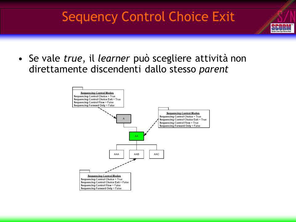S/N Sequency Control Choice Exit Se vale true, il learner può scegliere attività non direttamente discendenti dallo stesso parent