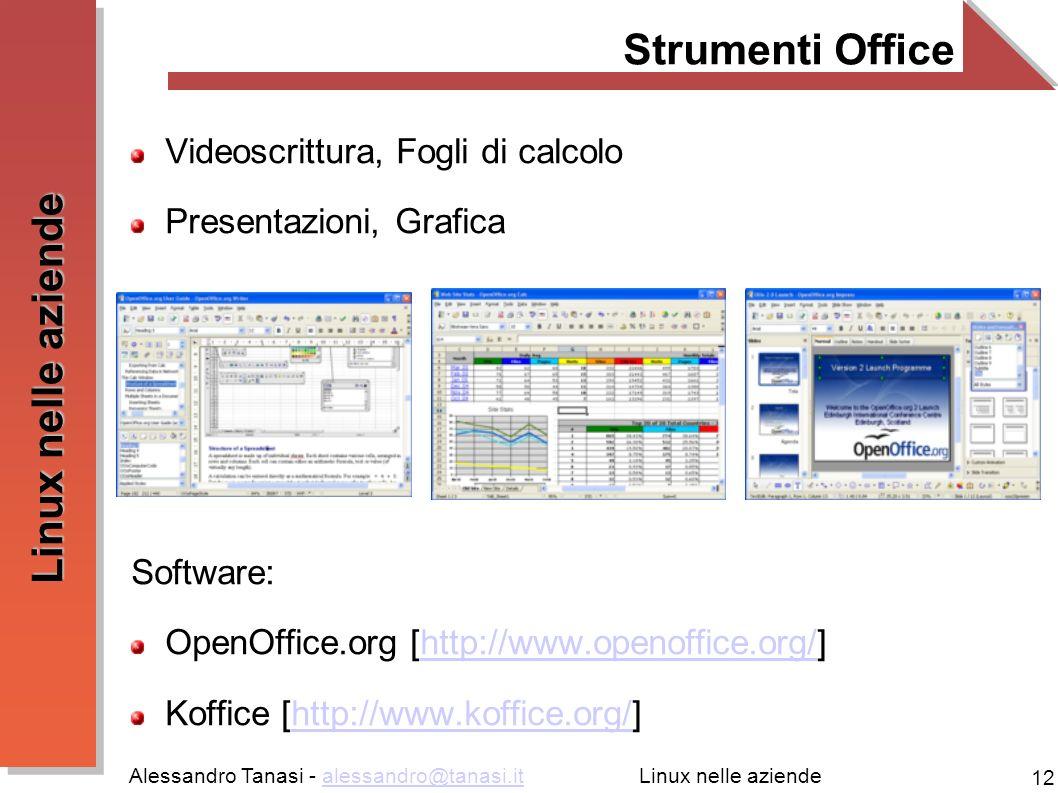Alessandro Tanasi - alessandro@tanasi.italessandro@tanasi.it 12 Linux nelle aziende Strumenti Office Videoscrittura, Fogli di calcolo Presentazioni, G