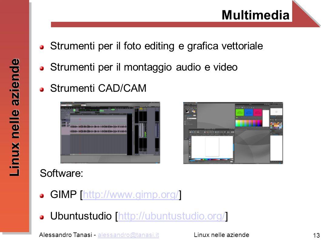 Alessandro Tanasi - alessandro@tanasi.italessandro@tanasi.it 13 Linux nelle aziende Multimedia Strumenti per il foto editing e grafica vettoriale Stru