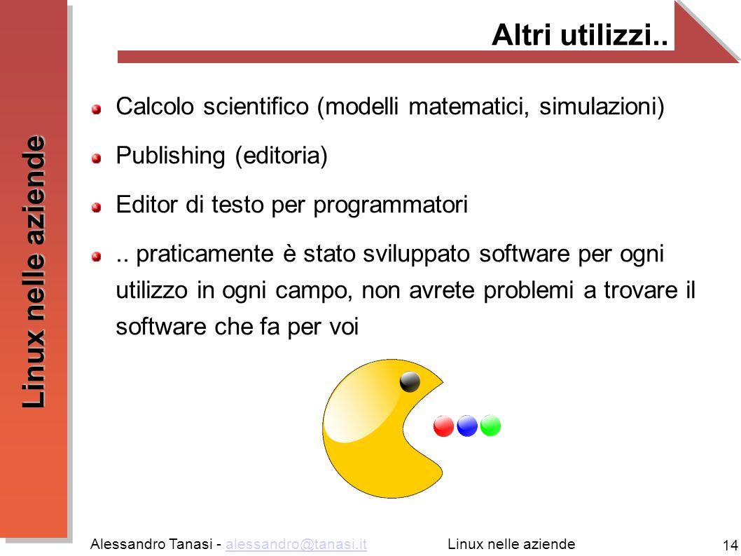 Alessandro Tanasi - alessandro@tanasi.italessandro@tanasi.it 14 Linux nelle aziende Altri utilizzi.. Calcolo scientifico (modelli matematici, simulazi