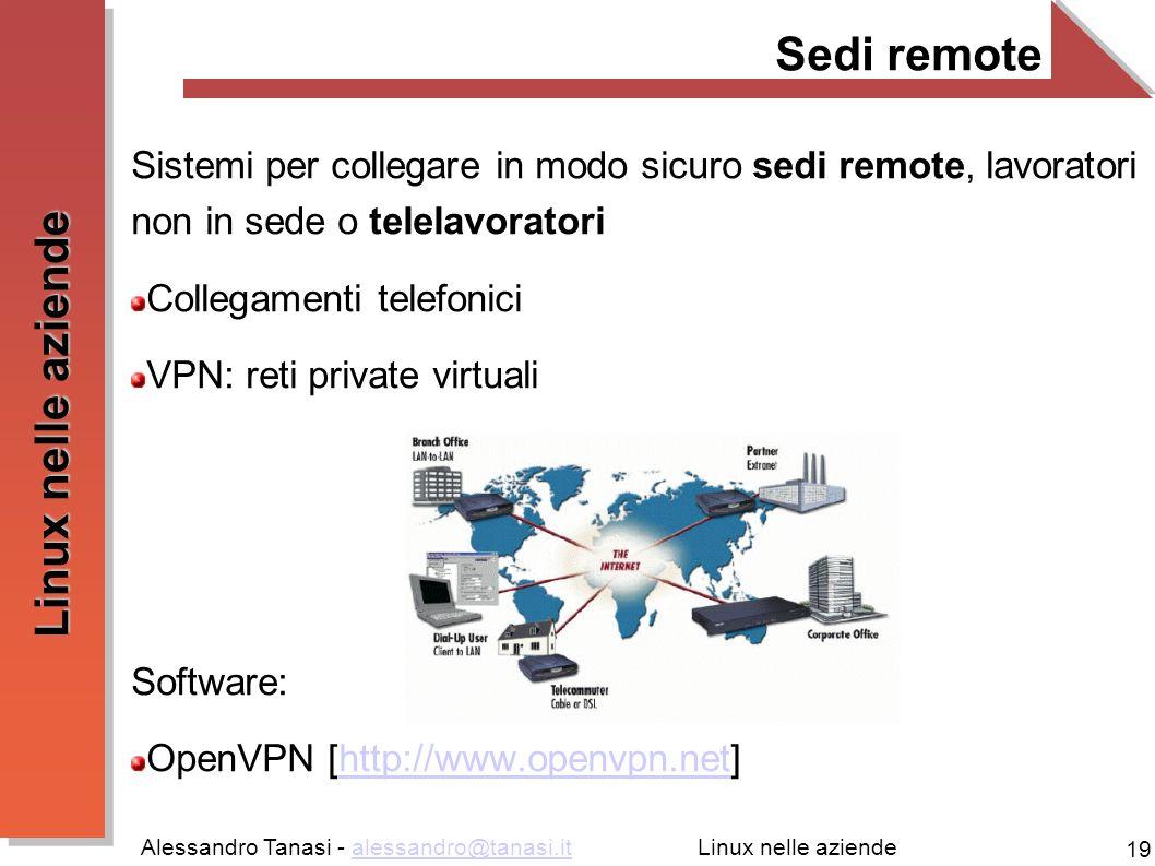 Alessandro Tanasi - alessandro@tanasi.italessandro@tanasi.it 19 Linux nelle aziende Sedi remote Sistemi per collegare in modo sicuro sedi remote, lavo