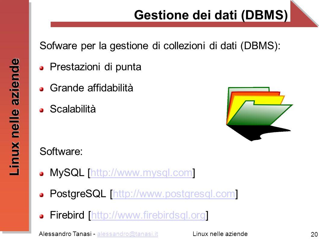 Alessandro Tanasi - alessandro@tanasi.italessandro@tanasi.it 20 Linux nelle aziende Gestione dei dati (DBMS) Sofware per la gestione di collezioni di