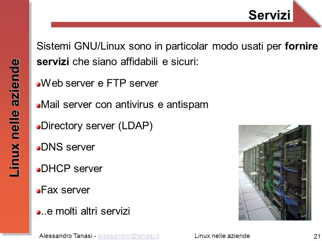 Alessandro Tanasi - alessandro@tanasi.italessandro@tanasi.it 21 Linux nelle aziende Servizi Sistemi GNU/Linux sono in particolar modo usati per fornir