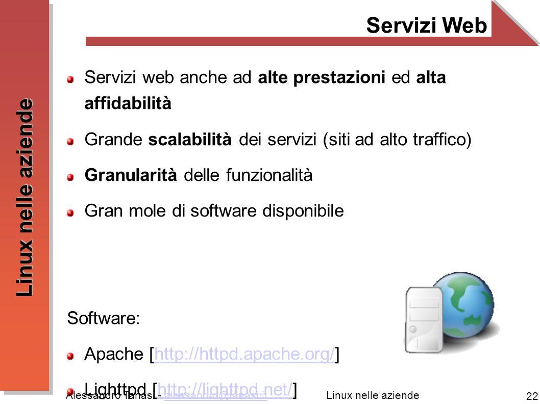 Alessandro Tanasi - alessandro@tanasi.italessandro@tanasi.it 22 Linux nelle aziende Servizi Web Servizi web anche ad alte prestazioni ed alta affidabi