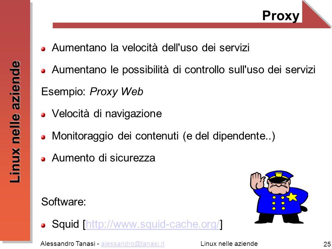 Alessandro Tanasi - alessandro@tanasi.italessandro@tanasi.it 25 Linux nelle aziende Proxy Aumentano la velocità dell'uso dei servizi Aumentano le poss
