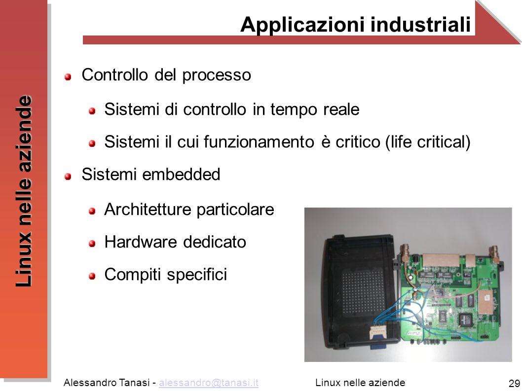 Alessandro Tanasi - alessandro@tanasi.italessandro@tanasi.it 29 Linux nelle aziende Applicazioni industriali Controllo del processo Sistemi di control