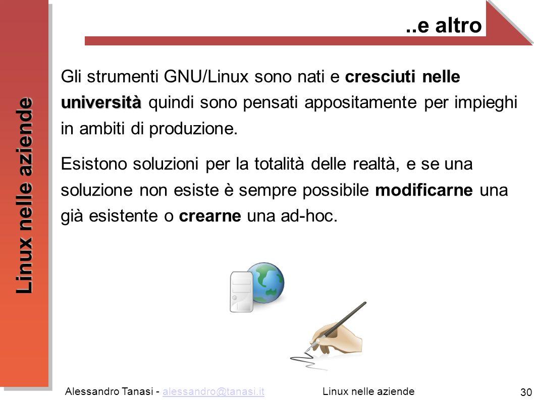 Alessandro Tanasi - alessandro@tanasi.italessandro@tanasi.it 30 Linux nelle aziende..e altro università Gli strumenti GNU/Linux sono nati e cresciuti